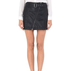 Free People Vegan Leather Belted Skirt Size 0